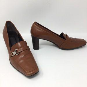 Coach Deborah Genuine Leather Loafer Heeled Pumps
